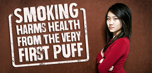 Smoking harms health from the very first puff