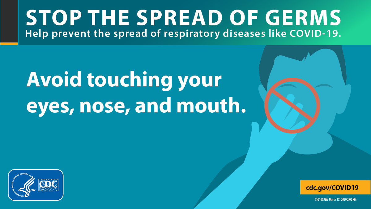 Stop the Spread of Germs, avoid touching your eyes, notes, and mouth