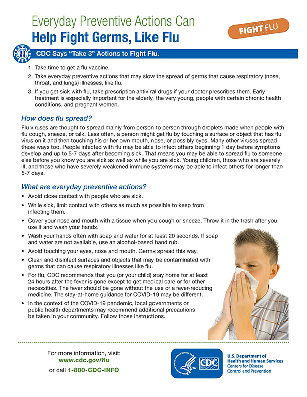 Everyday Preventive Actions Can Help Fight Germs, Like Flu